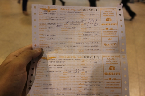 Bangkok to Siem Reap Bus Ticket