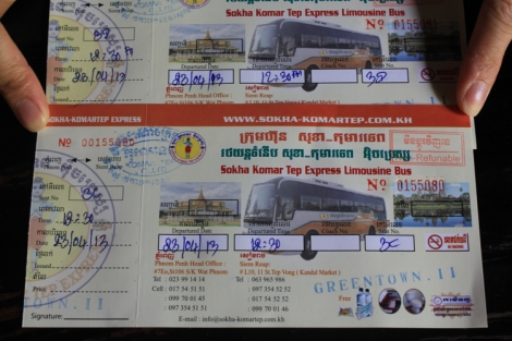 Sokha Komartep Bus Ticket (Front)