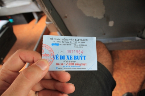 Bus ticket to Cu Chi Bus Terminal (7,000 dong)