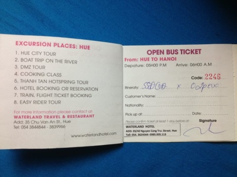 Hue to Hanoi Ticket