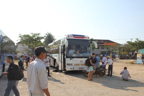 "Arrival at the Ha Noi ""bus station"". Soon to be swarmed by touts"