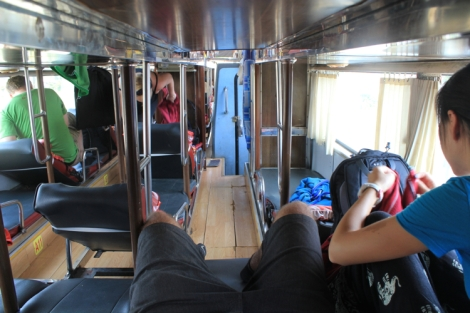 Luckily on this bus, we got seats at the back so Adam could stretch out his legs