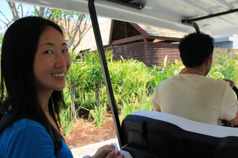 Golf cart to take us the 50 paces to our room