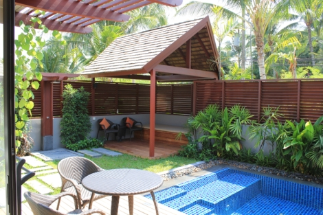 Private pool and deck and gazebo and outdoor shower