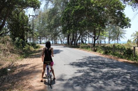 Biking down the beach to find food