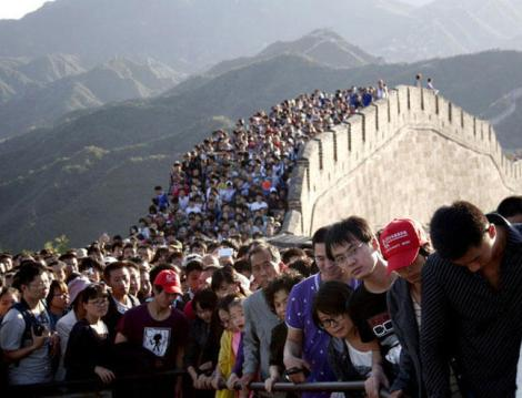 Crowds at the Great Wall of China