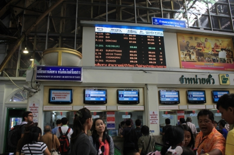 Train info board in passenger area at Hua Lamphong station