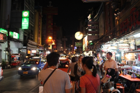 Walking down the crowded Bangkok street looking for dessert