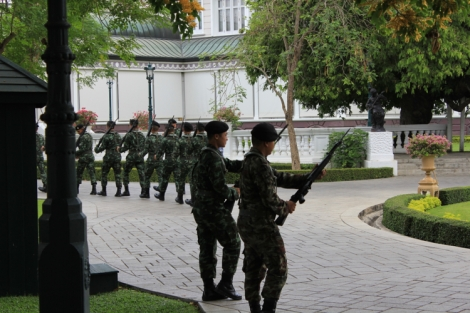 Soldiers changing guard at Bang Pa In Palace