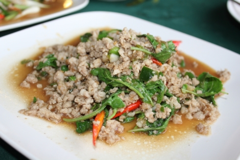 Pad grapao moo (fried sweet basil and pork, one of our faves)
