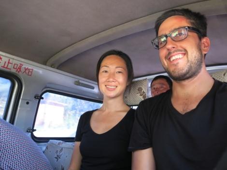 Inside the minibus. Photobombed.